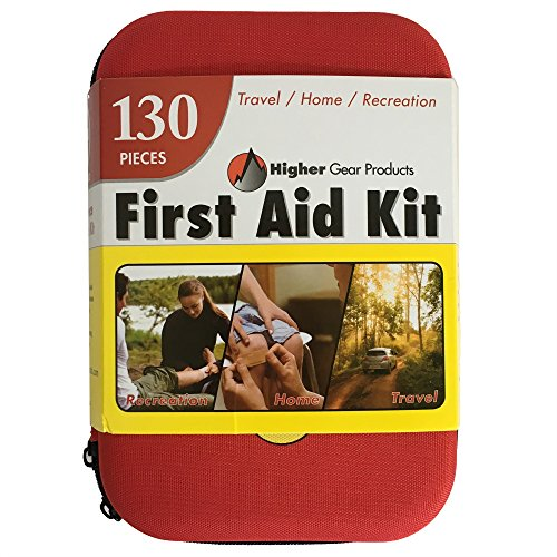 First Aid Kit for Car, SUV, Truck and Marine by Higher Gear - Perfect Emergency Kit for Home, Businesses, Travel, Hiking, Backpacking, Camping and Sports - Durable Water Resistant Case