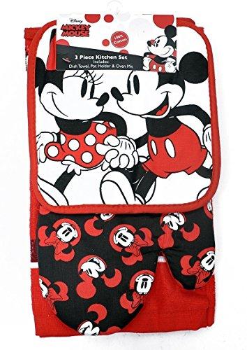 Disney Oven Mitt Pot Holder & Dish Towel 3 pc Kitchen Set (Mickey Minnie Red)