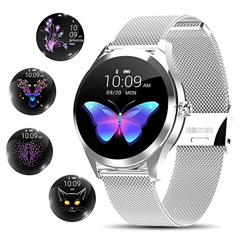 Smart Watch for Women,Elegant&High-end Sylish Stainless Steel IP68 Waterproof Smartwatch Fitness Tracker with Heart Rate Sleep Monitoring Calories Pedometer Activity Tracker,Gift for Lady Girls Silver