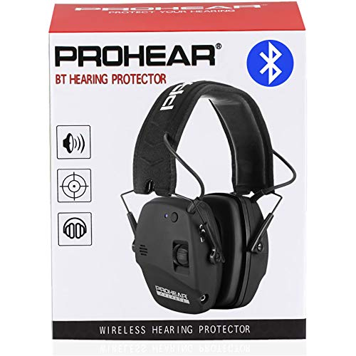 PROHEAR 030 Bluetooth 5.0 Electronic Shooting Ear Protection Earmuffs, Noise Reduction Sound Amplification Hearing Protector for Gun Range, Hunting, Gifts for Women and Men - Black