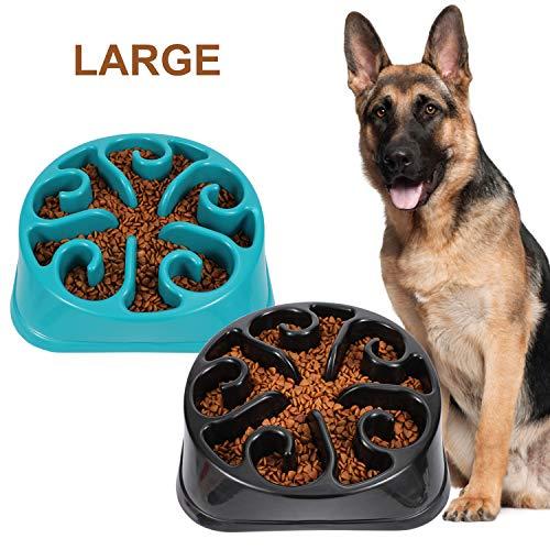 JASGOOD Large Dogs Bowl,Fun Slow Feeder Dog Bowl,Anti-Gulping Dog Slow Feeder Stop Bloat,Eco-Friendly Durable Big Pet Bowl (E-Black+Blue)