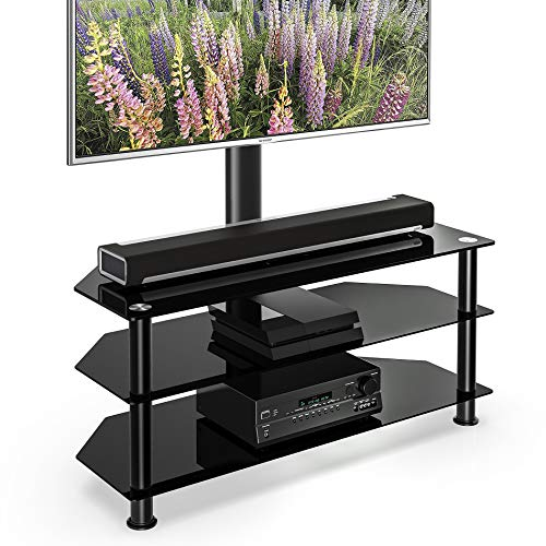 FITUEYES Floor TV Stand with Swivel Mount Height Adjustable 3-in-1 TV Stand Base Entertainment Stand for 32 to 65 inch Plasma LCD LED Flat or Curved Screen TVs