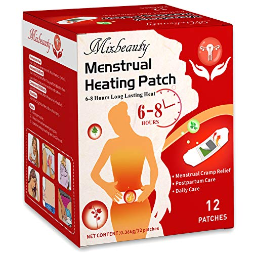 Menstrual Heating Pad,Menstrual Pain Relief Heat Patch with Wide Wings,Disposable,Long Lasting Safe Natural Air Activated Warmers - Up to 8 Hours of Heat - 12 Patches