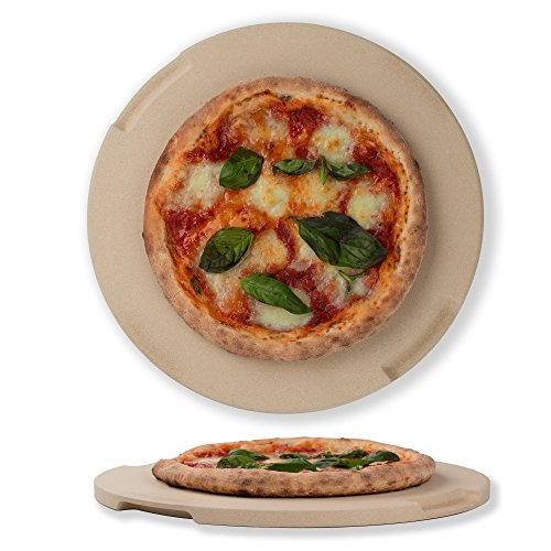 ROCKSHEAT Pizza Stone 12.6' Round Baking & Grilling Stone, Perfect for Oven, BBQ and Grill. Innovative Double - Faced Built - in 4 Handles Design