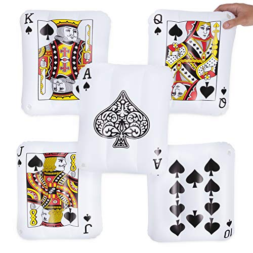5-pack Royal Flush Mini Inflatable Playing Cards | Includes Ace, King, Queen, Jack, 10 of Spades | 13' PVC Blow Up Pool Floaties for Vegas Casino Theme Party Decorations, Swimming Pool Fun, and More