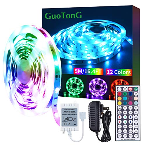 GUOTONG 16.4ft LEDs Strip Light with 44 Keys RF Remote Controller and 12V Power Dimmable Indoor 5050 Color Changing RGB Tape Lights Ideal for Home, Bedroom, Kitchen