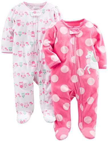 Simple Joys by Carter's Baby Girls' 2-Pack Fleece Footed Sleep and Play, Owl,Unicorn, 6-9 Months