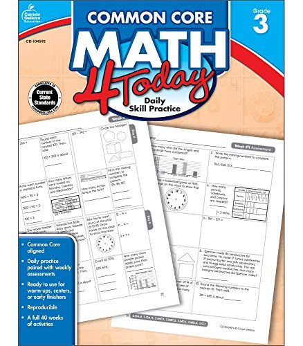 Carson Dellosa | Common Core Math 4 Today Workbook | 3rd Grade, 96pgs (Common Core 4 Today)