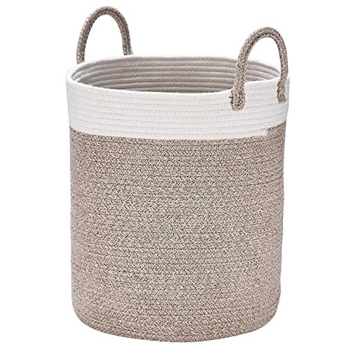 LA JOLIE MUSE Woven Basket Rope Storage Baskets - Large Cotton Organizer 16 x 14 x 14 Inches, Basket for Baby Blanket, Kids Toy Nursery Laundry Basket