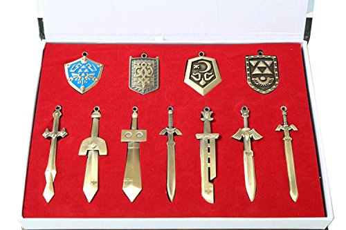 The Legend of Zelda Metal Shield & Sword Weapons Necklace Set of 11