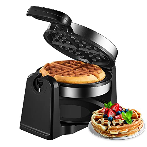 180° Flip Belgian Waffle Maker, AICOOK Waffle Iron 4-Slice, Nonstick Plates, Removable Drip Tray & Rotating, 1200W Adjustable Temperature Control & Cool Touch Handle, Stainless Steel, Silver