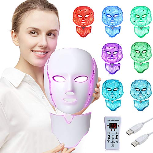 LED Face Mâsk Light Therapy   7 Color Skin Rejuvenation Therapy LED Photon Mâsk Light Facial Skin Care Anti Aging Skin Tightening Wrinkles Toning Mâsk (For face & neck).