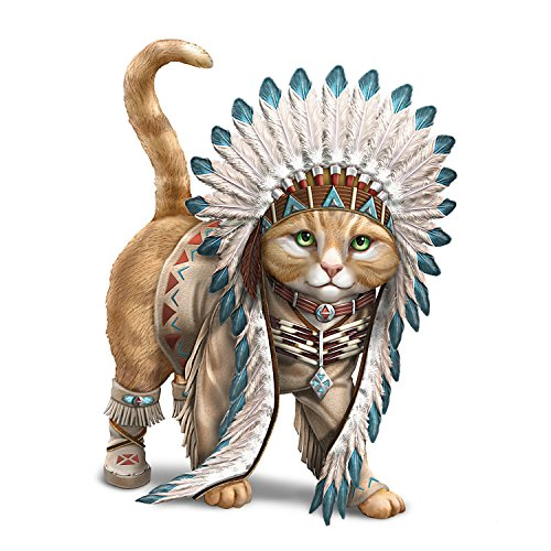 The Hamilton Collection Chief Runs with Paws Cat Figurine with Tribal Style Outfit