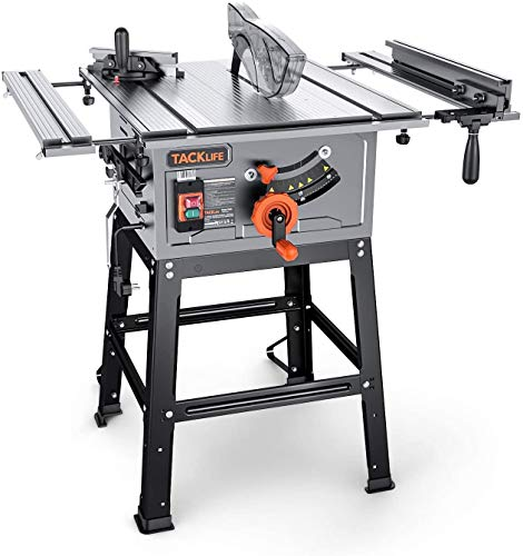 TACKLIFE Table Saw, 10-Inch 15-Amp Table Saw 4800RPM, 24T Blade, 31-1/2'' Rip Capacity, 45°Bevel Cutting, Aluminum Extension Table, Jobsite Table Saw with Stand, Miter Gauge, Push Bar - MTS01A