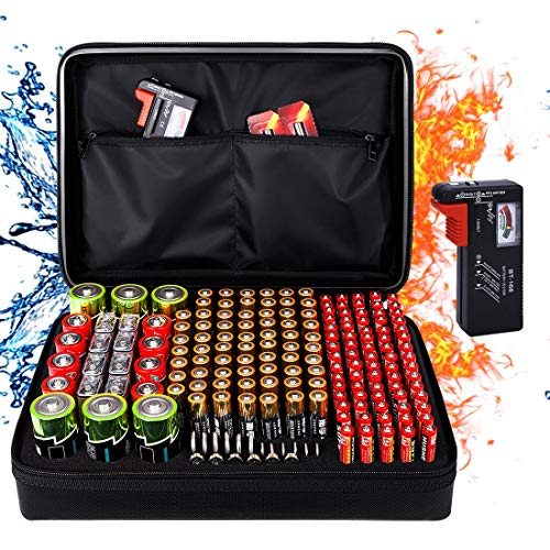 Fireproof Battery Organizer Storage Box, Fireproof Waterproof Explosionproof Safe Carrying Case Bag Hard Holder, Holds 200+ Batteries AA AAA C D 9V, with Battery Tester BT-168 (Not Includes Batteries)
