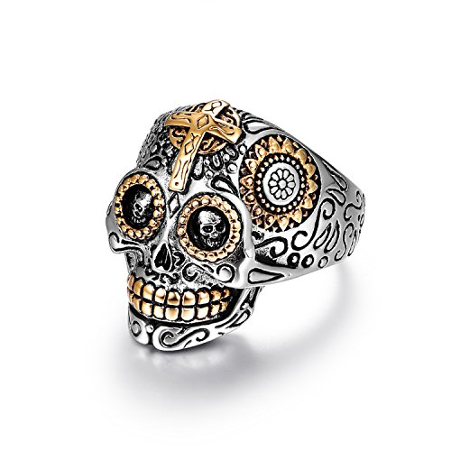 LAOYOU Sugar Skull Rings Jewelry for Men, Stainless Steel Day of The Dead Biker Gothic Cross,Black Womens Mens Promise Wedding Engagement Ring Size 10