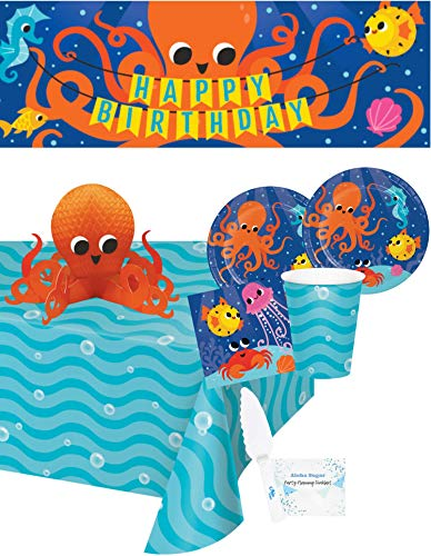 Ocean Party Supplies and Decorations - Ocean Party Plates and Napkins Cups for 16 People - Includes Ocean Birthday Banner, Tablecloth and Centerpiece - Perfect Under The Sea Birthday Party Decorations and Underwater Birthday Party Supplies!