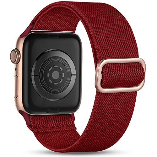 Witzon Compatible with Apple Watch Band 40mm 38mm for Women Men, Elastic Solo Loop Soft Breathable Braided Nylon Stretchy Bands for iWatch / Apple Watch SE Series 6 5 4 3 2 1, Rose Gold Burgundy