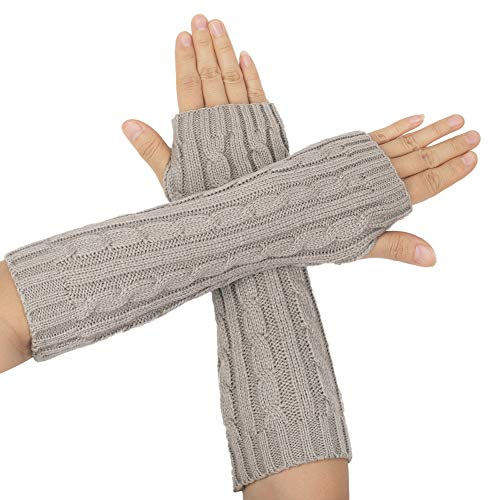 Flammi Women's Cable Knit Arm Warmers Fingerless Gloves Thumb Hole Gloves Mittens (Light Grey)