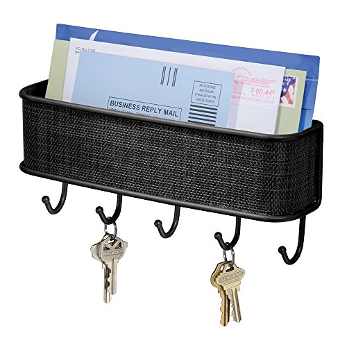 iDesign Twillo Steel Wall Mount Mail and Key Rack - 10.5' x 2.5' x 4.5', Matte Black