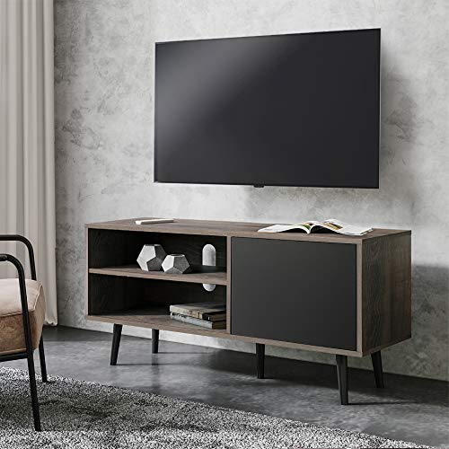 WAMPAT Mid Century Modern TV Stand for 55'' Flat Screen, Wood TV Console with Shelves and Doors, Living Room Storage Entertainment Center, Black/Gray