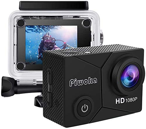 Piwoka Action Camera 1080P 12MP Waterproof Underwater 98ft Sports Camera 2' LCD Screen Wide Angle with Mounting Accessories Kit (Black)