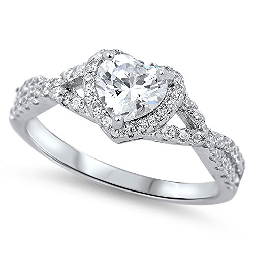 Heart Clear CZ Halo Promise Ring .925 Sterling Silver Infinity Band Size 5