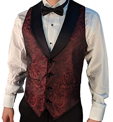 Men's Burgundy Paisley Tuxedo Vest with Black Lapel and Black Bow Tie Set-Medium