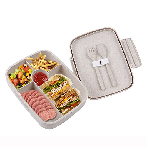 BRIGENIUS Bento Box for Adults, Lunch Box for Older Kids, No BPA, Made from Degradable Cereal Fiber, Can Use Safety in Microwave, Dishwasher (Has Fork and Spoon)