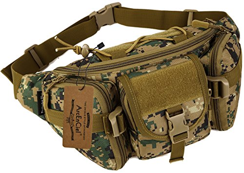 ArcEnCiel Tactical Fanny Pack for Men Waist Bag Military Hip Belt Outdoor Hiking Fishing Bumbag (Jungle Camouflage)