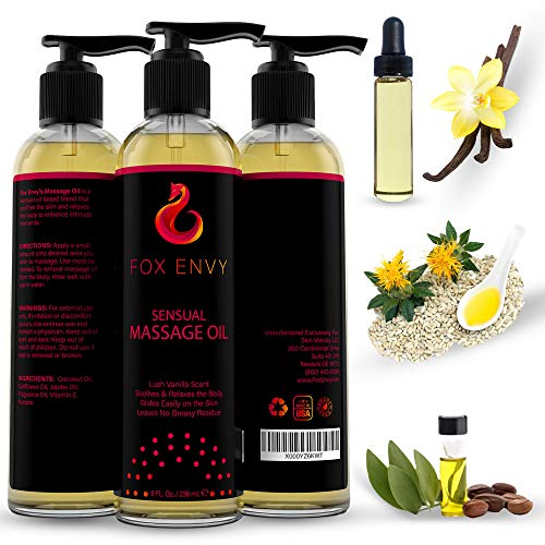 Fox Envy Massage Oil for Women, Men and Couples, with Coconut Oil & Jojoba Oil, Enhances Stimulation for The Body & Muscles, 8 FL Ounces (Vanilla)