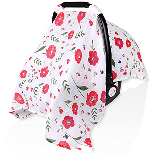 Muslin Carseat Canopy for Girl Boy, Metplus Lightweight Infant Car Seat Cover, Breathable Baby Carrier Newborn Stroller Covers, Fit Summer Spring Autumn, Large Size 47.2 x 35.4 inch, Red Flower