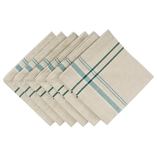 DII 100% Cotton French Tabletop Collection for Everyday Indoor/Outdoor Dining, Special Occasions or Dinner Parties, Machine Washable, Napkin Set, Taupe w/Teal Stripes 6 Count