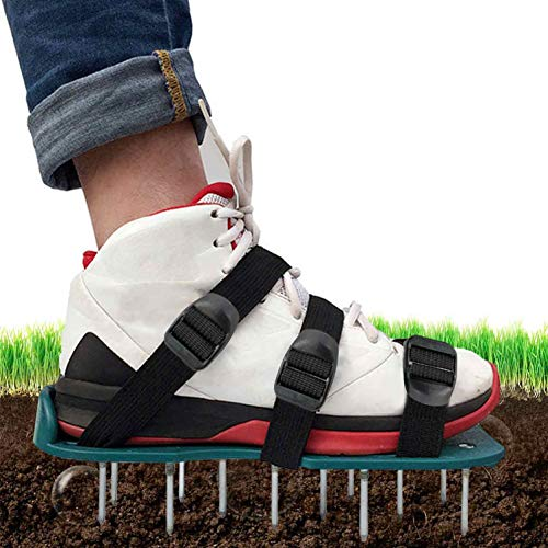 KMOOL Lawn Aerator Shoes with 3 Adjustable Straps, Lawn Aerator Spike Shoes, Aerating Shoes for Lawn, Grass Aerators