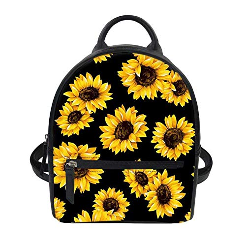 PZZ BEACH Mini Leather Backpack for Girls Women, Casual Daypack for School Traval, Vintage Sunflower Print, Yellow
