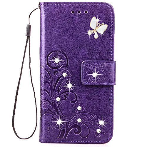 HAOTP Beauty 3D Handmade Crystal Rhinestone Butterfly Floral Lucky Flowers PU Flip Stand Credit Card ID Holders Wallet Leather Case for Samsung Galaxy J7 Sky Pro / J7 2017 / J7 Prime Bling/Purple