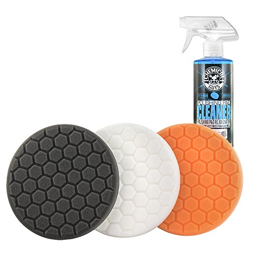 Chemical Guys HEX_3KIT_5 5.5' Buffing Pad Sampler Kit, 4 Items - (1) 16 oz Polishing Pad Cleaner + (3) 5.5' Buffing Pads that Work with 5' Backing Plates