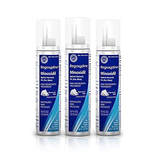 Regoxidine Men's 5% Minoxidil Foam (3 Month Supply) Helps Restore Vertex Hair Loss and Supports Hair Regrowth for Thinning Hair with Unscented Topical Aerosol Treatment