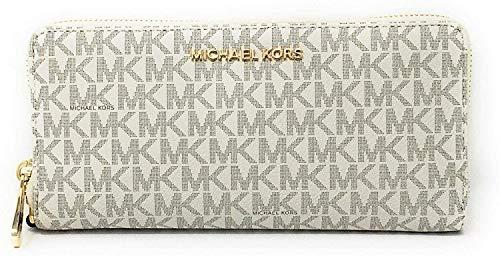 Michael Kors Jet Set Travel Continental Zip Around Leather Wallet Wristlet (Vanilla/Dark Acorn)