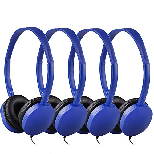 Bulk Headphones for Classroom 25 Pack, HONGZAN Wholesale Stereo School Headphones for Kids, Students, Libraries, Laboratories,Testing Centers, Museums etc (Blue)