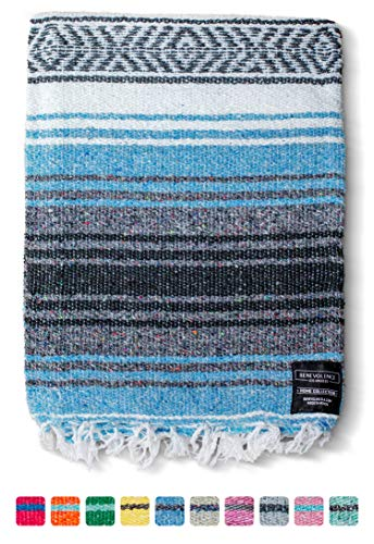 Mexican Blanket, Falsa Blanket | Authentic Hand Woven Blanket, Serape, Yoga Blanket | Perfect Beach Blanket, Navajo Blanket, Camping Blanket, Picnic Blanket, Saddle Blanket, Car Blanket (Sky Blue)