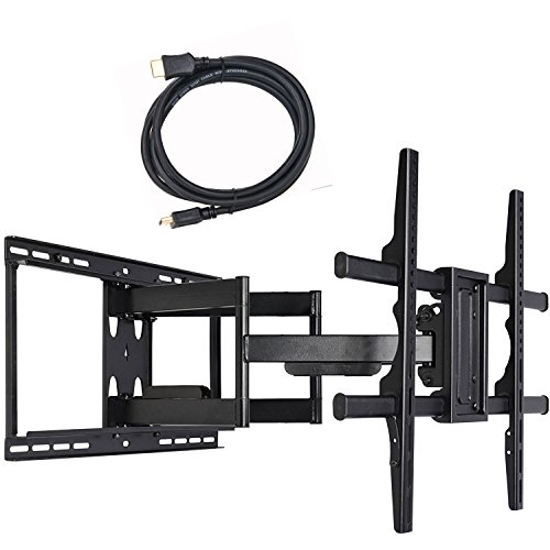 VideoSecu 24 inch Extension Full Motion Swivel Articulating TV Wall Mount Bracket for Most 40'-90' LED LCD OLED Plasma Flat Screen TV with VESA 684x400,600x400,400x400,200x200mm MW480B BCL