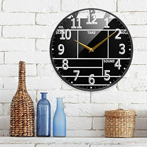 HousingMart 9.5 Inch Modern Wall Clock Clapperboard Design Clock Acrylic Round Wall Clock Battery Operated Quiet Clock Decor for Kitchen Office