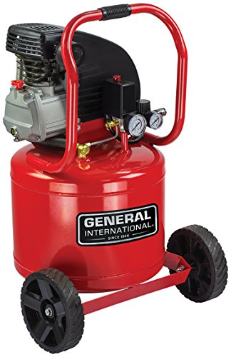 GENERAL INTERNATIONAL Electric Air Compressor - 2 HP 11 Gallon Oil-Lubricated Compressor with Dual Gauges & Large Wheels - AC1104