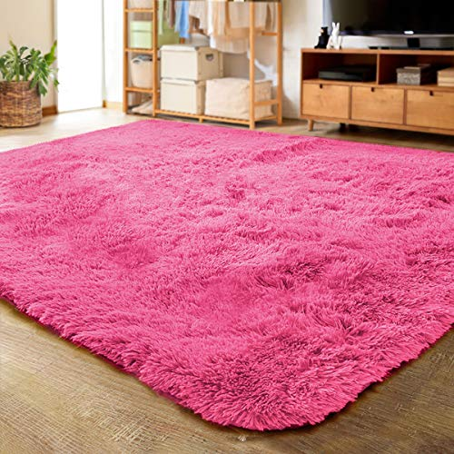 LOCHAS Ultra Soft Indoor Modern Area Rugs Fluffy Living Room Carpets for Children Bedroom Home Decor Nursery Rug 5.3x7.5 Feet, Hot Pink