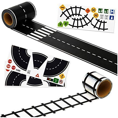 Monta products Imaginative Road Tape Set, Adhesive Train Tracks with Traffic Signs and Curved Roads. 57 feet of Fun for Kids of All Ages. 3 inch Wide Road. let Them Learn and Imagine While Playing.