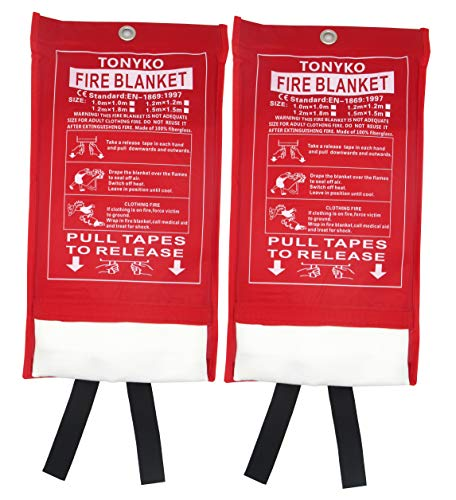 TONYKO Emergency Surival Fire Blanket, Flame Retardant Protection and Heat Insulation Designed for Kitchen,Fireplace,Grill,Car,Camping(White(2PACK))