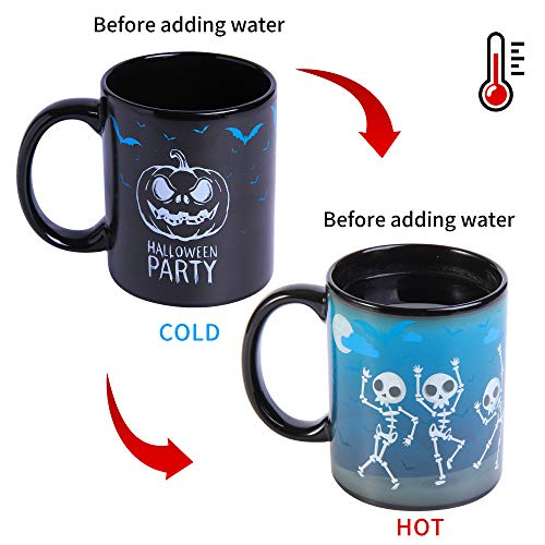 Magic Heat Changing Coffee Mug(12oz)- Add Hot Coffee or Tea and the cups will change color,Thermometer Sensitive Porcelain Tea Ceramic Coffee Funny Cup,Novelty Gift (Ghost)