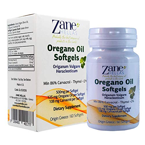 Zane Hellas Oregano Oil Softgels. The Highest Concentration in The World. Every Softgel Contains 25% Greek Essential Oil of Oregano. 108 mg Carvacrol per Softgel. 60 Softgels.