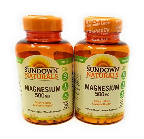 Sundown Naturals Magnesium 500 Mg Caplets Value Size, 180 Count, (Pack of 2)